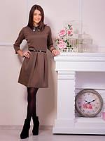 Платье светло-коричневое с воротником из кожезаменителя и поясом