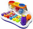 Музична розвиваюча іграшка Ксилофон 9199 з молоточком і трьома різнокольоровими кульками (2 види), фото 2