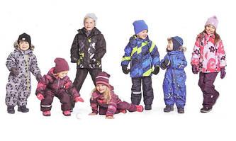 Зимові дитячі комбінезони та напівкомбінезони, куртки та лижні костюми.
