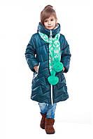 Пальто детское длинное с шарфом.
