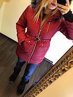 Женское теплое синтепоновое пальто Аляска на молнии и с капюшоном