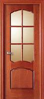 Двери межкомнатные шпон красного дерева фигурная филенка,под стекло