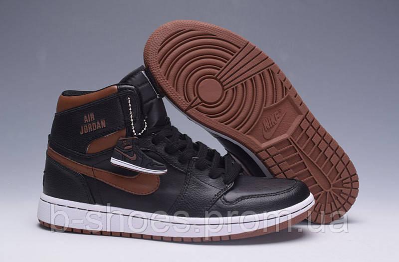 Мужские Баскетбольные кроссовки Air Jordan Retro 1 (Black/Brown)