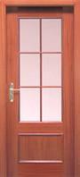 Двери межкомнатные натуральный шпон красного дерева прямоугольная филенка,под стекло