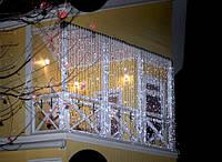 Новогодняя светодиодная гирлянда занавес-штора уличная 120 LED 2 м на 2 м белая и мульти