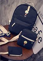 """Модный рюкзак """"Смайл"""" 3 в 1  черный"""