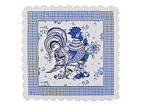 Салфетка декоративная синяя Петух 35Х35 см 69-934