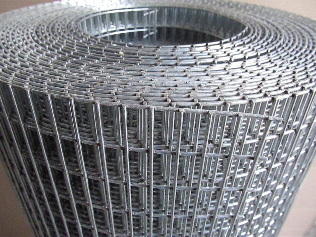 Зварна оцинкована сітка для кліток. Осередок: 25х12,5мм., Ø 2,0 мм, Ширина: 1м.