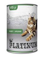 PLATINUM Rabbit сбалансированный корм для кошек с мясом кролика 415 г/24