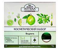 Косметический набор Зеленая Аптека Бодрость для принятия ванн и душа 3 в 1 (масло для ванн и душа+спонж)