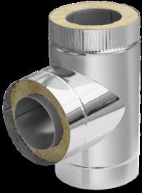 Термоізольований трійник 90° ф130/200 сендвіч (двостінний неіржавіюча сталь 0,8 мм в оцинкування) на димар
