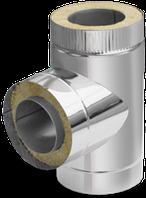 Термоізольований трійник 90° ф130/200 сендвіч (двостінний неіржавіюча сталь 0,8 мм в оцинкування) на димар, фото 1