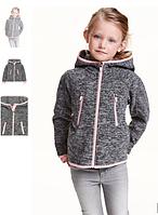 Ветровка весенняя серого цвета с розовыми вставками девочку под шерсть 4 5 лет и шапка