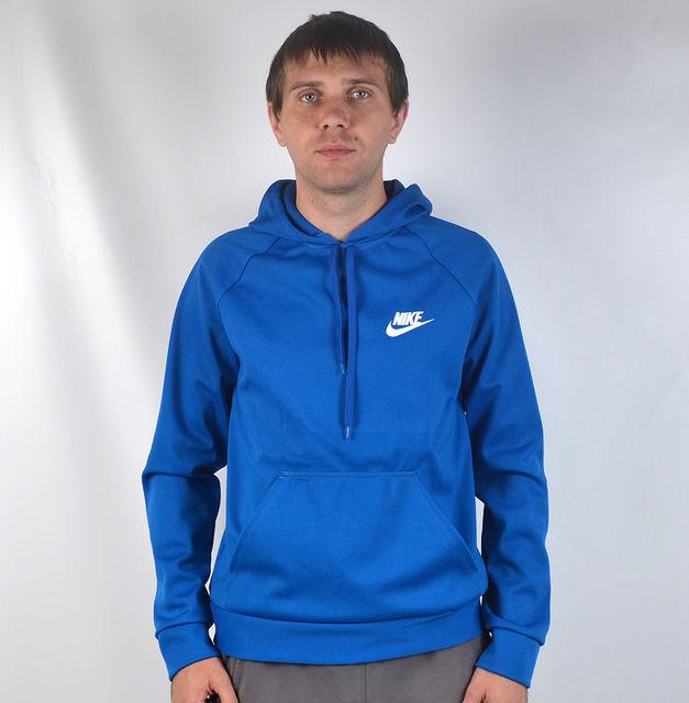 Чоловіча кофта - кенгурушка  в стилі Nike (синя )