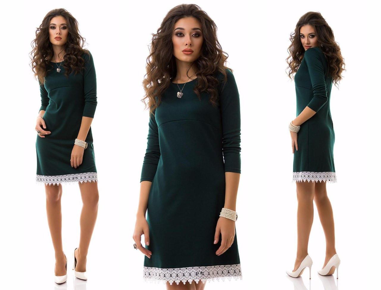 e3759588729 Стильное платье из зеленого трикотажа с белым кружевом  продажа ...
