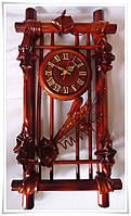 Настенные часы кожа, бамбук с сухоцветом Рамка