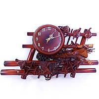 Настенные часы кожа, бамбук Иллюзия