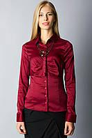 Женская блуза с длинным рукавом, цвет бардо и стальной, фото 1
