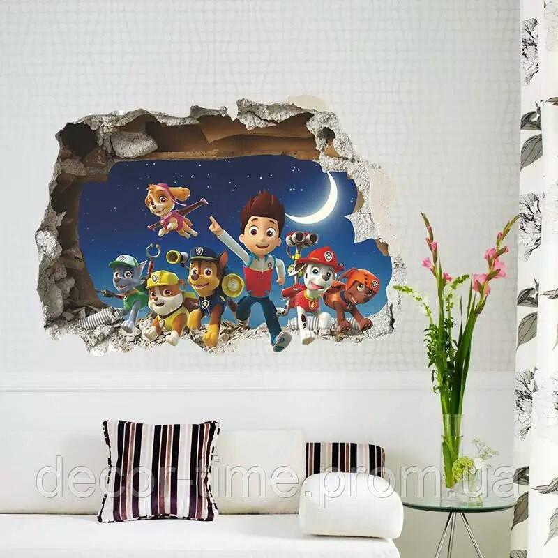 """Интерьерная  наклейка на стену в детскую """"Щенячий патруль""""  (02650)"""