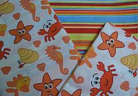 """Сменная постель  """"Водный мир"""" оранжевого цвета 3- 236."""