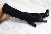 Зимние натуральные замшевые сапоги ботфорты на каблуке черные