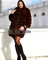 "Шуба из меха финского песца коричневого цвета с красивым воротником ""Laurie"", фото 1"