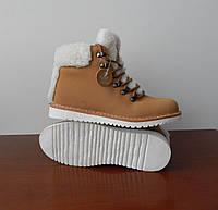 Зимние кожаные ботинки Adidas женские с натуральной овчиной бежевые