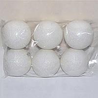 Новогодний набор Белых шаров 6 шт, 10см