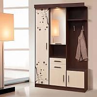 Вешалка для одежды для маленькой прихожей со шкафом и зеркалом Силуэт 1, 1300*2085*470