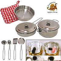 Кухня игровая детская - металлическая посудка и плитка набор посуды металл.