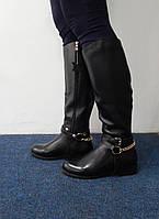 Сапоги кожаные женские черные на низком ходу