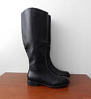Сапоги кожаные женские черные на низком ходу 40,41 размеры