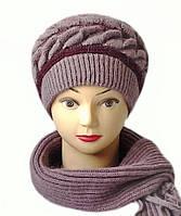 Комплект шапка и шарф  женский вязаный Marina шерсть с ангорой сливового цвета