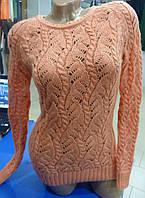 Красивый женский вязанный свитер с люрексом размер 42 цвет персик