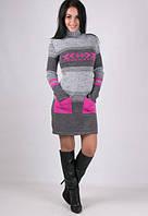 Серое вязаное платье с яркими карманами