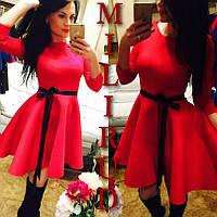 Платье с пышной юбкой  красное, малина, кораловое, белое, желтое, зеленое, черное - выбирай!