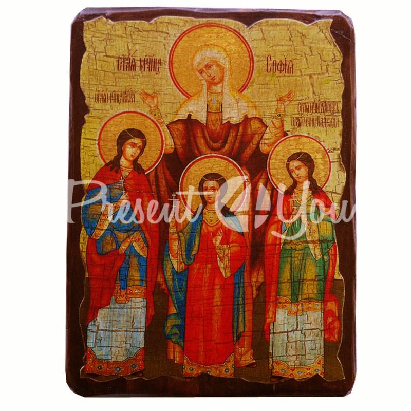 Деревянная икона Святых мучениц Веры, Надежды, Любови и матери их Софии, 17х23 см.