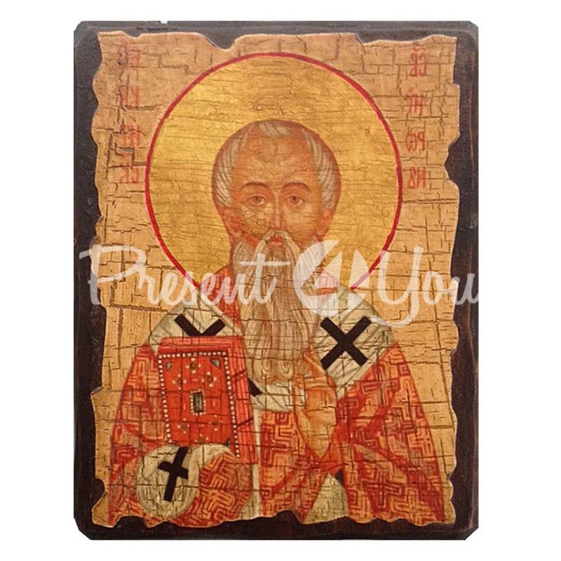 Деревянная икона Мирон Критский, 17х23 см.