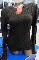 Женский вязанный свитер цвет шоколад 42-44