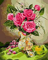 Картина раскраска по номерам без коробки Розы и виноград (BK-GX8256) 40 х 50 см