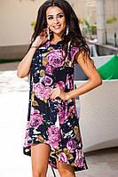 Свободное платье с крупными сиреневыми цветами . Арт-9219/57
