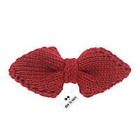 Bow Tie House™ Бабочка вязаная спицами красная - ручная работа - уголком