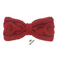 Bow Tie House™ Бабочка вязаная спицами красная - ручная работа - с узором