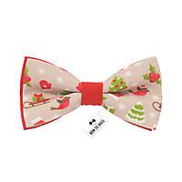 Bow Tie House™ Галстук-бабочка новогодняя красная на застежке