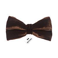Bow Tie House™ Бабочка бархатная темно-коричневая 100% натуральный шелк