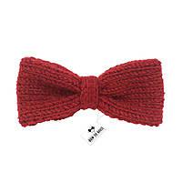 Bow Tie House™ Бабочка вязаная спицами красная - ручная работа - узкая