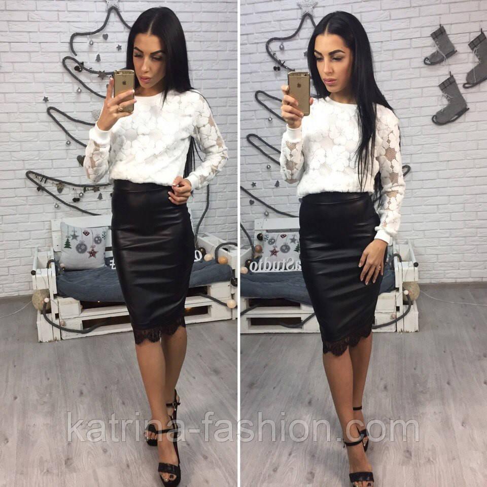 bec23fa8755 Женская стильная юбка-карандаш из эко-кожи на флисе с кружевом - KATRINA  FASHION
