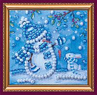 Набор для вышивки бисером мини-магнита Снеговик и зайка АММ-025