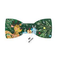 Bow Tie House™ Бабочка деревянная Новый год и подарками зеленая