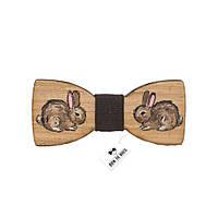 Бабочка детская коричневая с кроликом